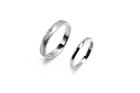 福岡北九州手作り結婚指輪我流鍛造-甲丸槌目リング
