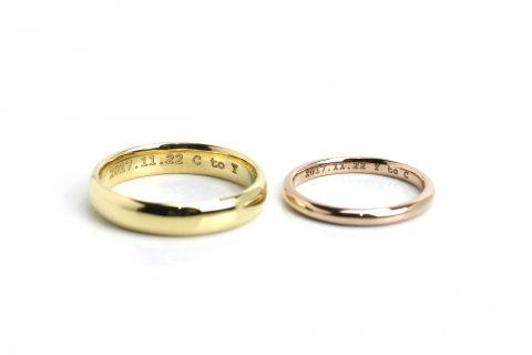 福岡ジュエリー北九州DITIQUE小倉結婚指輪鍛造ゴールド甲丸リング