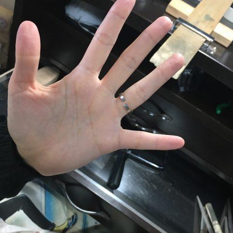 福岡北九州小倉手造り結婚指輪我流鍛造途中段階3ロウ付け前
