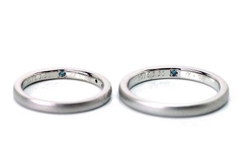 DITIQUE福岡小倉結婚指輪内側デザインブルーダイヤモンド