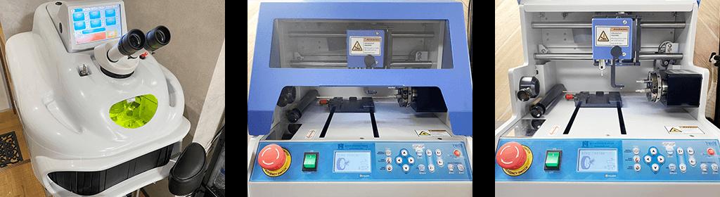 レーザー溶接機と文字彫刻機の画像