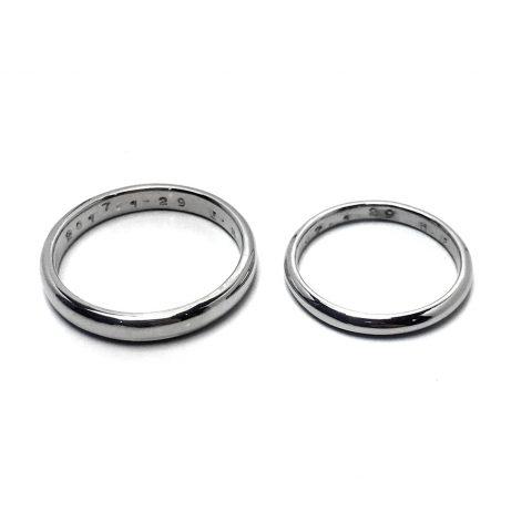 小倉ディティーク手造り結婚指輪我流鍛造プラチナリング内側
