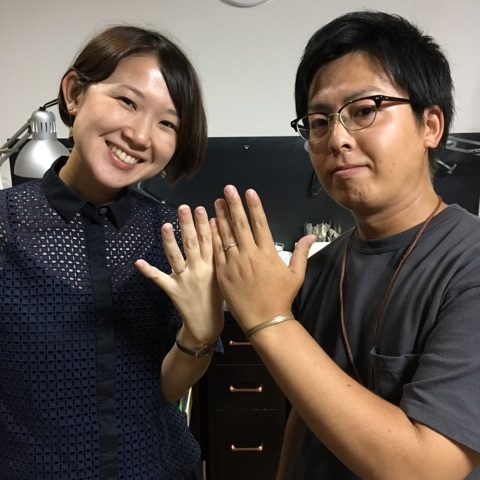 福岡小倉手造り結婚指輪我流鍛造O様マリッジJUSTMARRIED