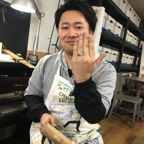 福岡北九州小倉手造り結婚指輪我流鍛造途中段階