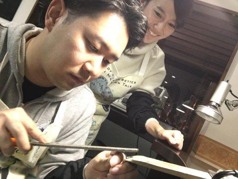 福岡北九州小倉手造り結婚指輪我流鍛造仕上げつや消し
