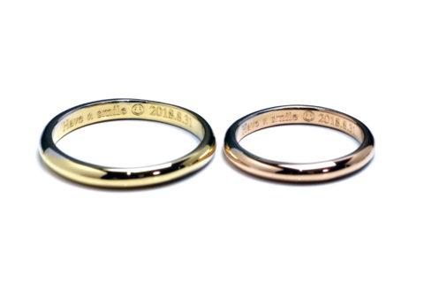 フルオーダーメイドマリッジリングDITIQUEコンビ福岡北九州小倉ジュエリー結婚指輪にこちゃんマーク